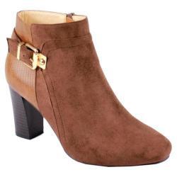 Women's Reneeze Pony-01 Stacked Heel Ankle Boot Brown PU