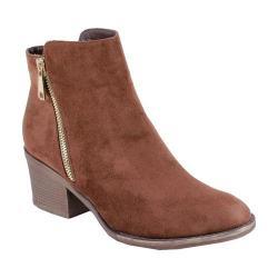 Women's Reneeze Pama-01 Stacked Heel Ankle Boot Brown PU
