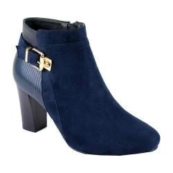 Women's Reneeze Pony-01 Stacked Heel Ankle Boot Navy PU