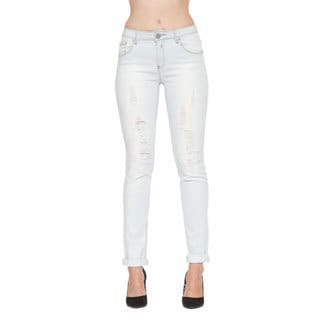 365 Denim Women's Bleached White Distressed Straight-leg Jeans