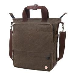 Token Waxed Fordham Convertible Bag Dark Brown