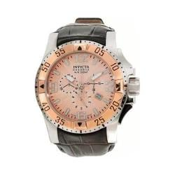 Men's Invicta Excursion 10901 Black Leather/Rose Gold