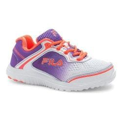 Girls' Fila Aurora Training Shoe White/Electric Purple/Fiery Coral