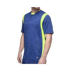 Men's Fila Camo Jacquard Crew T-Shirt Blue Depths Jacquard/Blue Depths/Safety Yellow