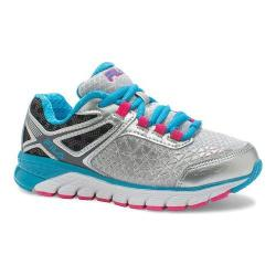 Girls' Fila Dashtech Evo Running Shoe Metallic Silver/Atomic Blue/Pink Glo