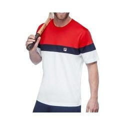 Men's Fila Heritage Colorblock Crew T-Shirt White/Chinese Red/Peacoat