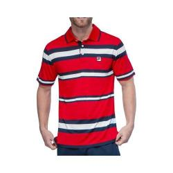 Men's Fila Heritage Stripe Polo Shirt Chinese Red/Peacoat/White