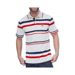 Men's Fila Heritage Stripe Polo Shirt White/Peacoat/Chinese Red