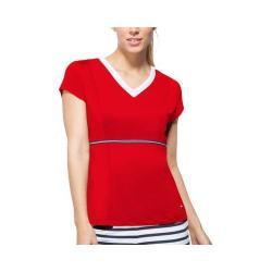 Women's Fila Heritage V Neck Top Crimson/Peacoat