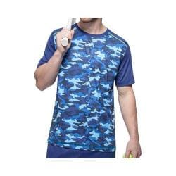 Men's Fila Printed Camo Crew T-Shirt Blue Depths Camo/Blue Depths/Safety Yellow