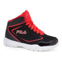 Boys' Fila Status 2 Casual Shoe Black/Fila Red/Metallic Silver
