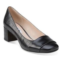 Women's Clarks Chinaberry Sky Pump Black Combination Leather