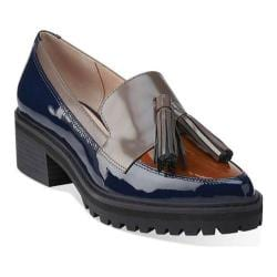Women's Clarks Anniston Vale Tassel Loafer Navy Combination Leather