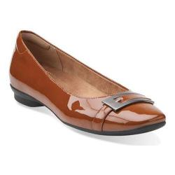 Women's Clarks Candra Glare Flat Cognac Patent Leather