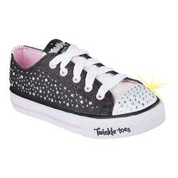 Girls' Skechers Twinkle Toes Shuffles Sparkle Wishes Sneaker Black/Light Pink