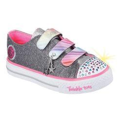 Girls' Skechers Twinkle Toes Shuffles Talking Tie Dye Sneaker Gunmetal/Multi