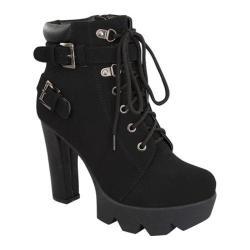 Women's Wild Diva Tropical-11 Platform Ankle Boot Black Faux Nubuck
