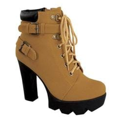 Women's Wild Diva Tropical-11 Platform Ankle Boot Camel Faux Nubuck