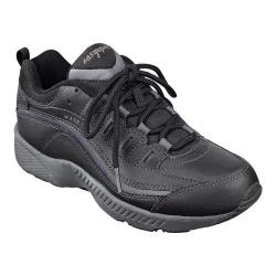 Women's Easy Spirit Romy Walking Shoe Black/Dark Grey Leather