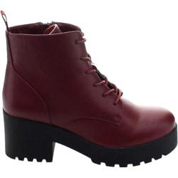 Women's Wild Diva Cobra-01 Ankle Boot Burgundy Faux Leather