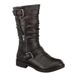 Women's Wild Diva Barbara-34 Slouch Boot Black Faux Leather