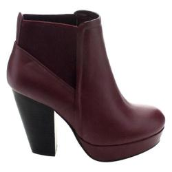 Women's Wild Diva Sasa-02 Ankle Boot Oxblood Faux Leather