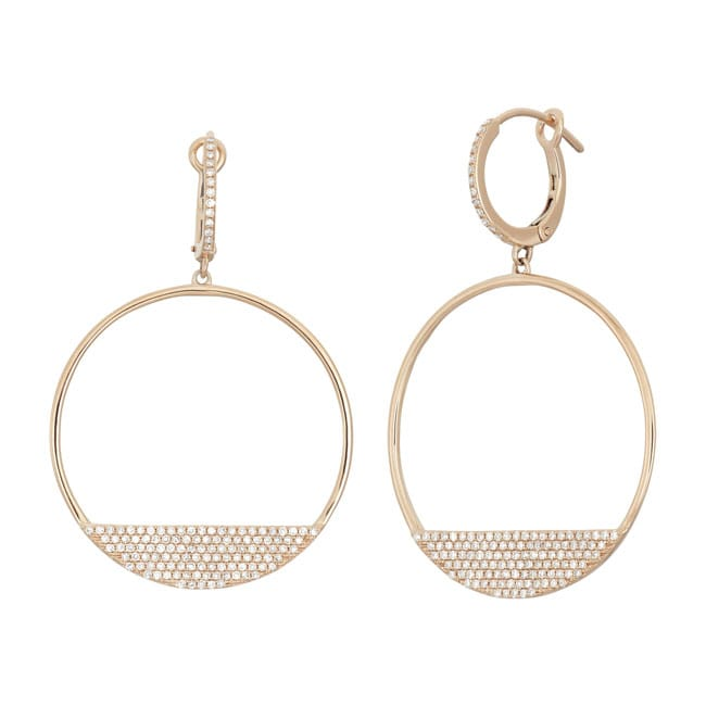14k Gold 3/4ct TDW Diamond Open Circle Dangle Earrings
