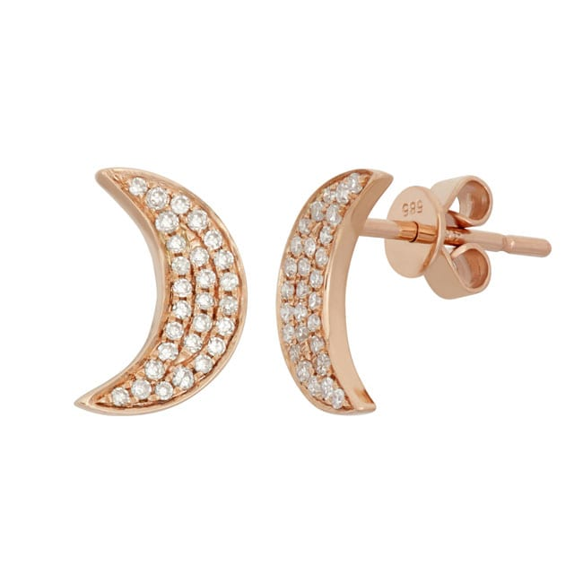 14k Gold 1/5ct TDW Diamond Moon Stud Earrings