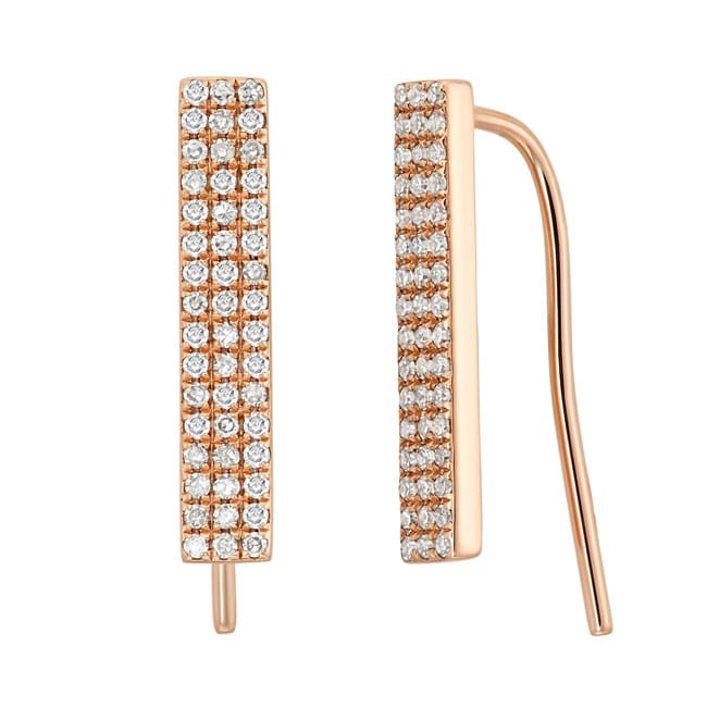 14k Gold 1/4ct TDW Diamond Three Row Stick Earring