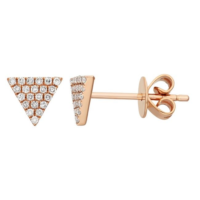 14k Gold 1/8ct TDW Diamond Triangle Earrings