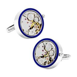 Men's Penny Black Fourty 22mm Inlaid Watch Movement Cufflinks Silver/Lapis