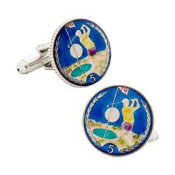 Men's Penny Black Fourty Hand Painted Isle of Man 5p Golf Coin Cufflinks Multi