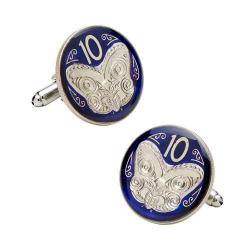 Men's Penny Black Fourty New Zealand 10 Cent Coin Cufflinks Blue/Silver