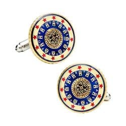 Men's Penny Black Fourty Portugal Coin Cufflinks Blue/White/Red