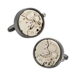 Men's Penny Black Fourty Round 20mm Watch Movement Cufflinks Matte Black