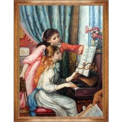 Young Girls at The Piano by Pierre Auguste Renoir Framed Hand Painted Oil on Canvas