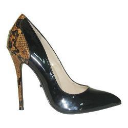 Women's Highest Heel Fierce-131 Pump Black/Bronze Snake