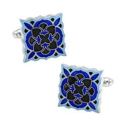 Men's Cufflinks Inc Black and Blue Deco Bloom Cufflinks Black