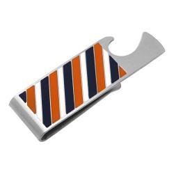 Men's Cufflinks Inc Varsity Stripes Bottle Opener Money Clip Navy/Orange/White 16599054