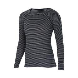 Women's Ibex Woolies 1 Crew Long Sleeved Tee Black/Medium Heather Grey Stripe