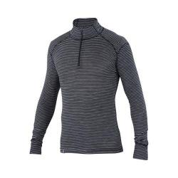 Men's Ibex Woolies 1 Zip T-Neck Pullover Black/Medium Heather Grey Stripe