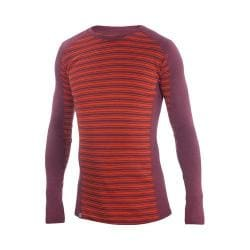 Men's Ibex Woolies 2 Crew Long Sleeve Blood Orange/Fire Brick Stripe