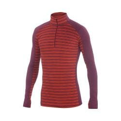 Men's Ibex Woolies 2 Zip T-Neck Pullover Blood Orange/Fire Brick Stripe