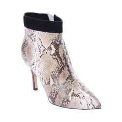 Women's Nicole Miller Chelsea Ankle Boot Black/White Snake/Black Suede