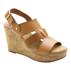 Women's XOXO Beebee Cork Wedge Sandal Tan PU/Elastic