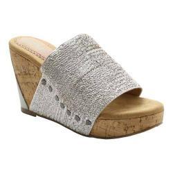 Women's XOXO Benson Cork Slide Sandal Silver Elastic