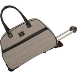 Women's Anne Klein Calgary 20in Wheeled Bowler Bag Black/White/Burgundy Red Plaid