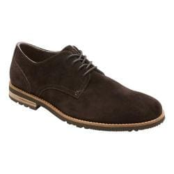 Men's Rockport Ledge Hill Too Plain Toe Dark Bitter Chocolate Suede/Dark Brown