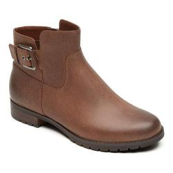 Women's Rockport Tristina Buckle Bootie Nutella Tumbled Leather