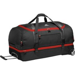 High Sierra Drop-Bottom Black/Charcoal/Crimson Red 34-inch Rolling Duffel Bag